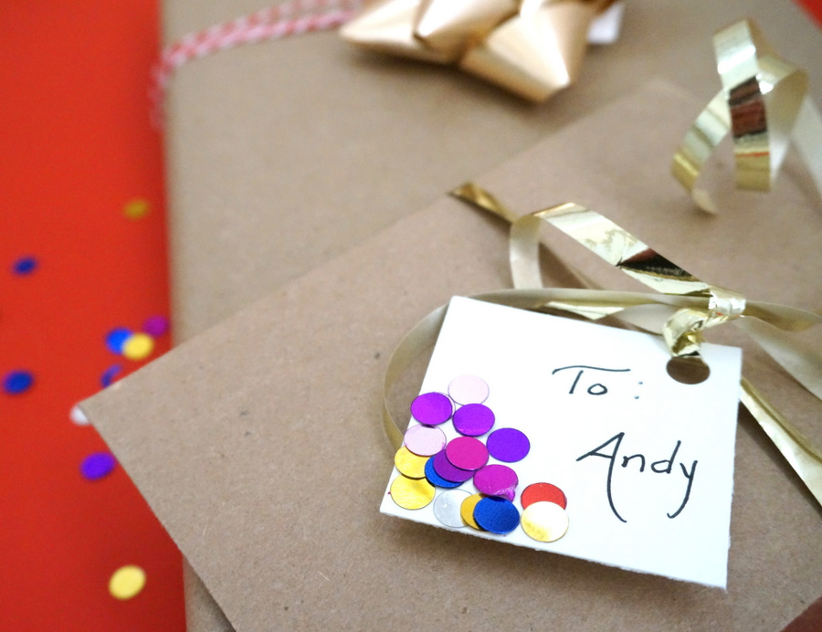 Confetti tags bring gift wrap to life