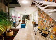 Contemporary Mexican home with an indoor garden colorful wall tiles and neutral color scheme 217x155 Indoor Garden and Innovative Use of Tiles: Vibrant Home in Mérida