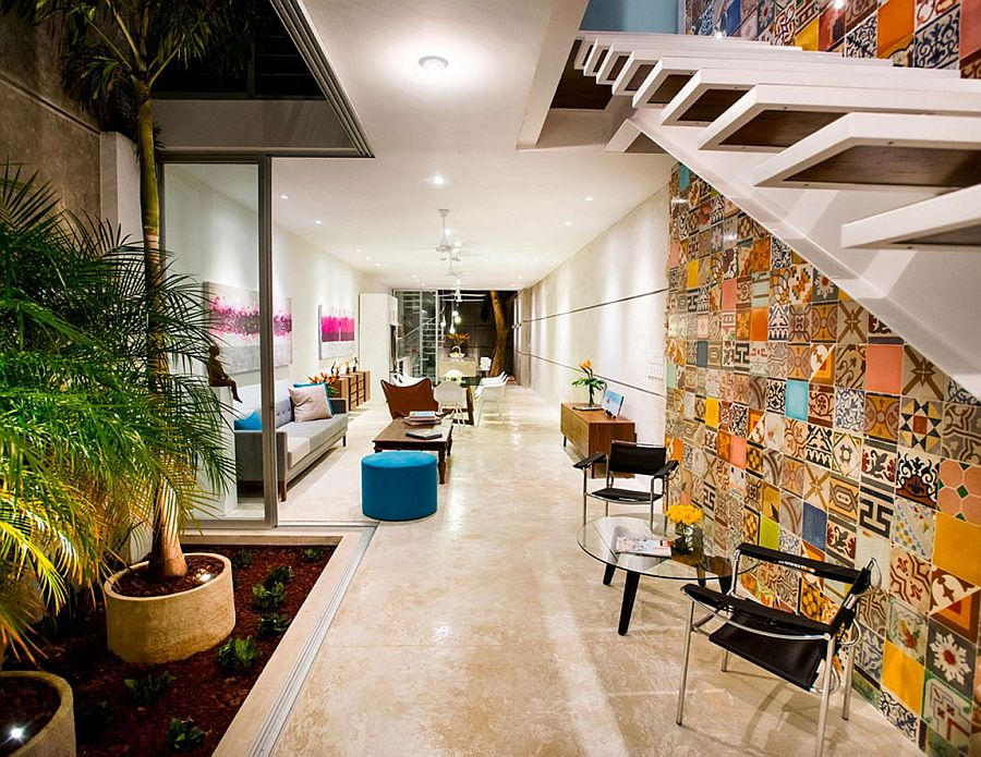 Indoor Garden And Innovative Use Of Tiles Vibrant Home In