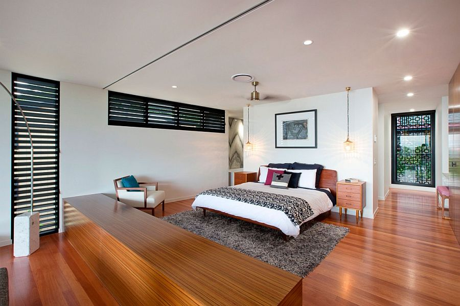 Contemporary bedroom with an airy, cheerful ambiance