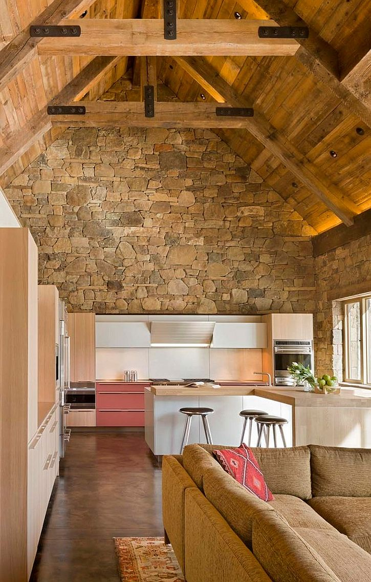 30 inventive kitchens with stone walls - Cuisine mur en pierre ...