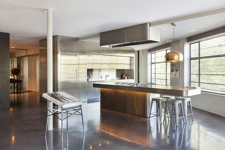 Contemporary kitchen and pantry of the awesome London penthouse