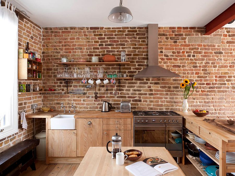 contemporary kitchen in london with brick walls and wooden workstation design mdsx contractors - Brick Wall Design