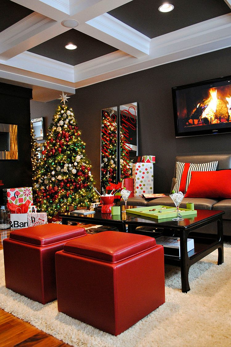 Contemporary living room in black, red and gray with festive charm [Design: AMR Interior Design & Drafting]