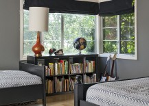 Contemporary shared boys' bedroom with dark gray on the walls