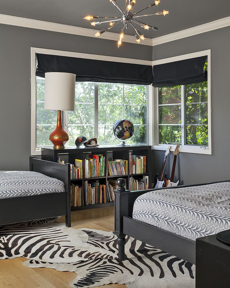 Shared boys bedroom designs -  Contemporary Shared Boys Bedroom With Dark Gray On The Walls Design Holly Bender