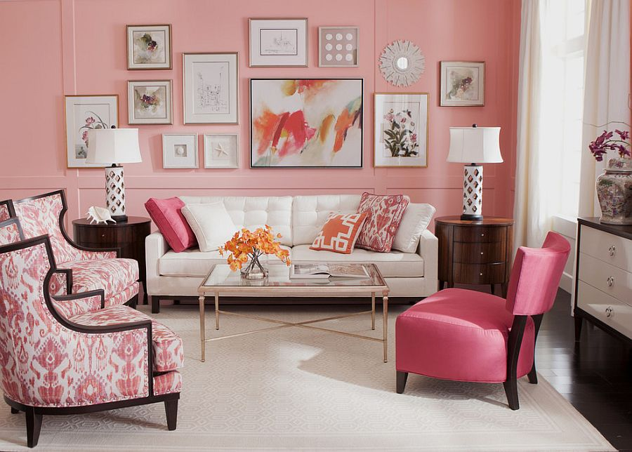 ... Coral Crush In The Backdrop Gives The Small Living Area A Glamorous  Makeover [Design: