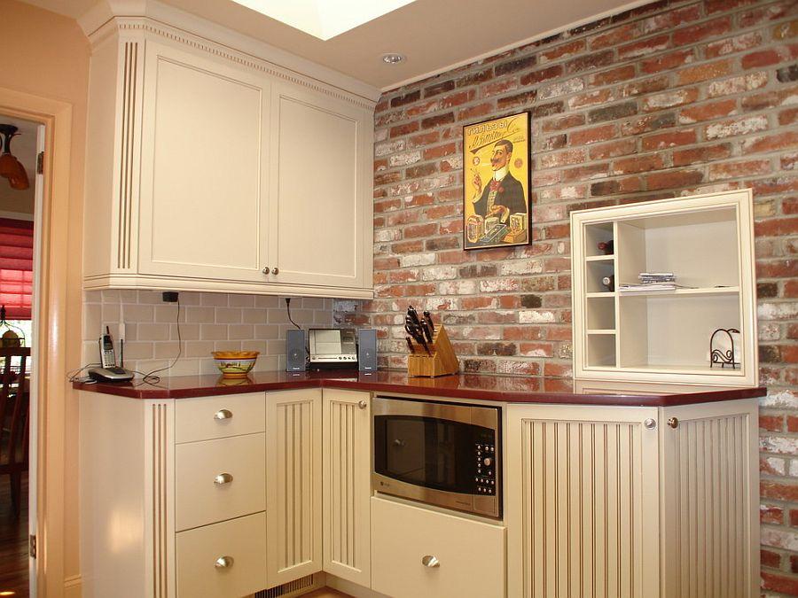 Corner kitchen shelving for eclectic kitchen [Design: Robert Kramer]