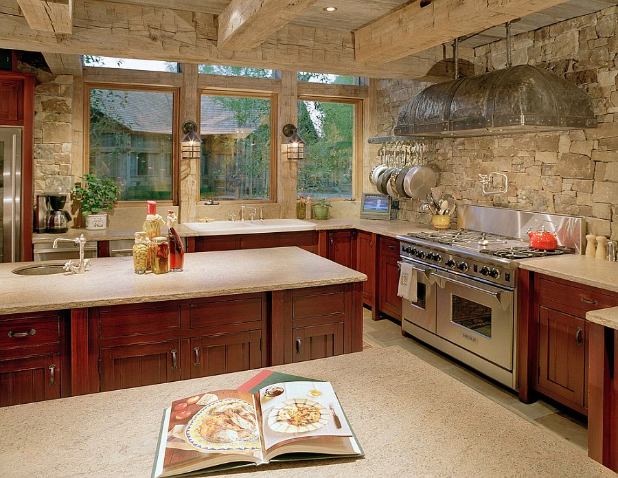 Cozy kitchen in stone and reclaimed timber [From: JLF Associates / Kevin Perrenoud Photography]