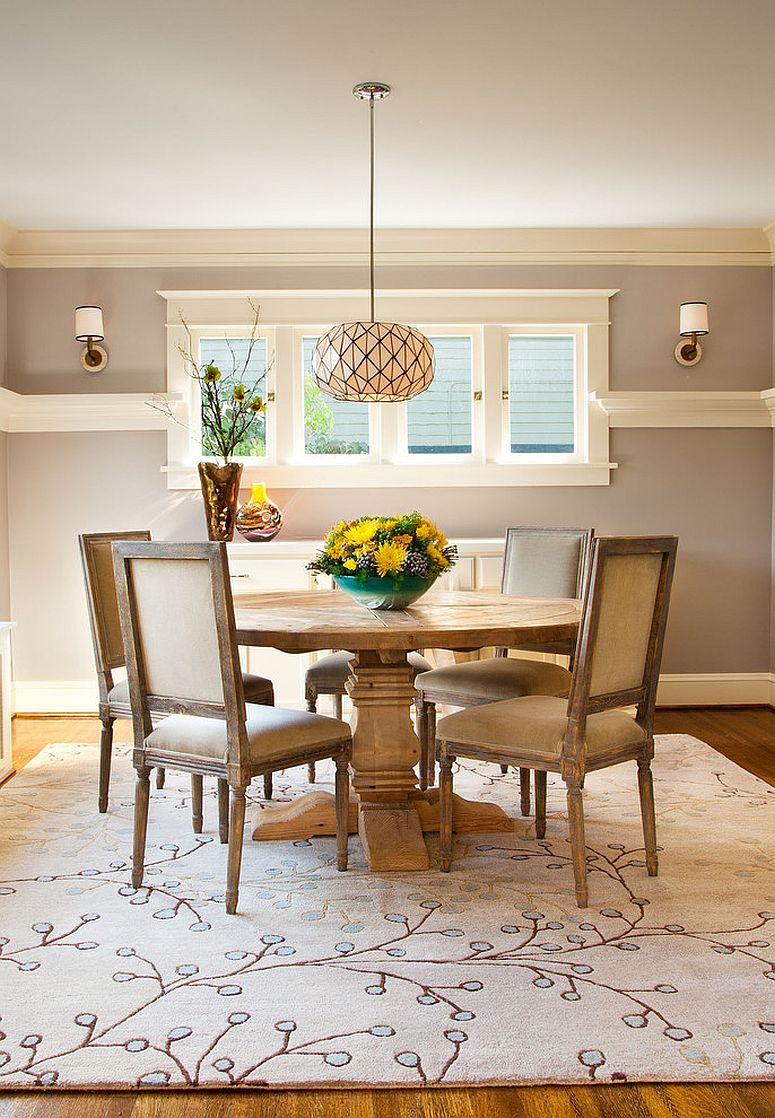 Craftsman style dining room with a gorgeous area rug [Design: Garrison Hullinger Interior Design]