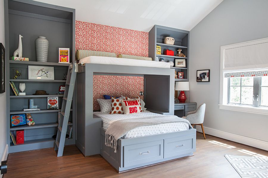 Custom bed and shelves for the boys' bedroom in cool gray [Design: Laura U]