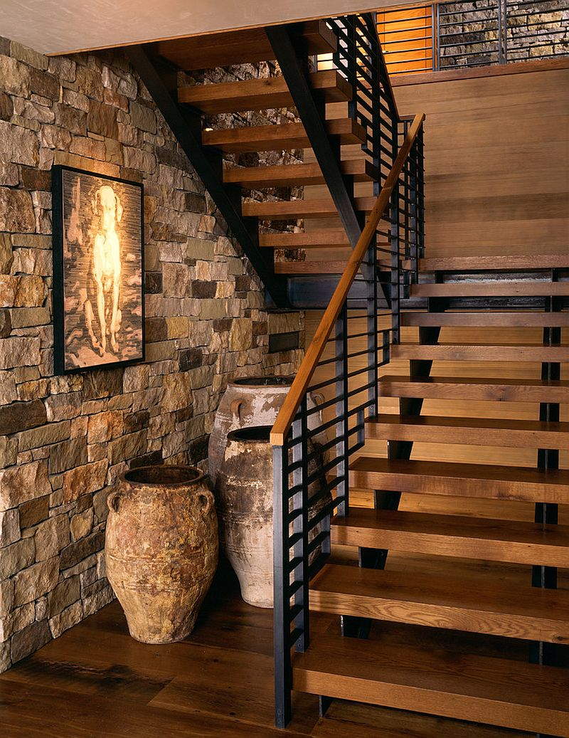 Custom designed staircase with steel railing for the rustic mountain holiday home