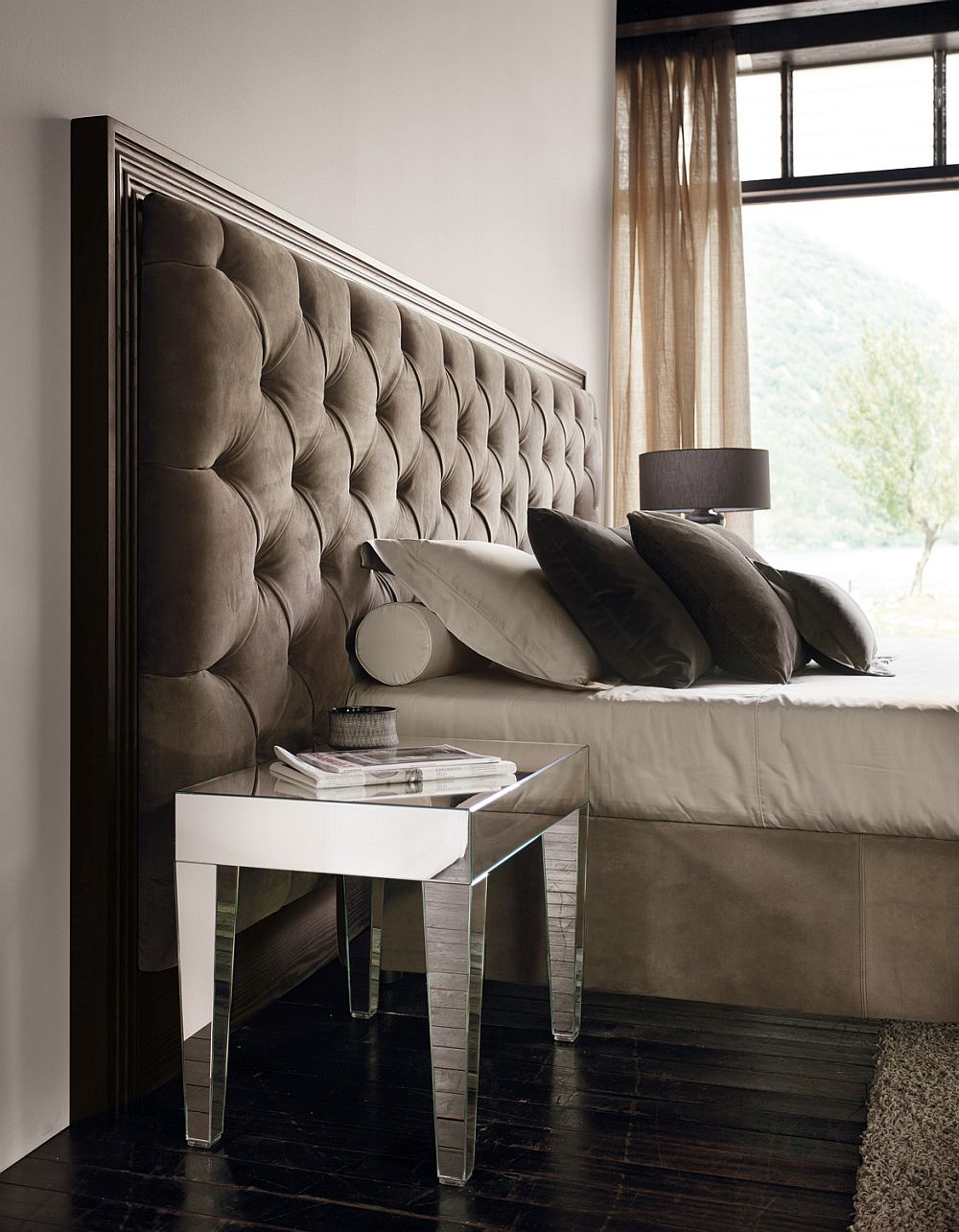 Custom headboard allows you to incorporate various styles and finishes