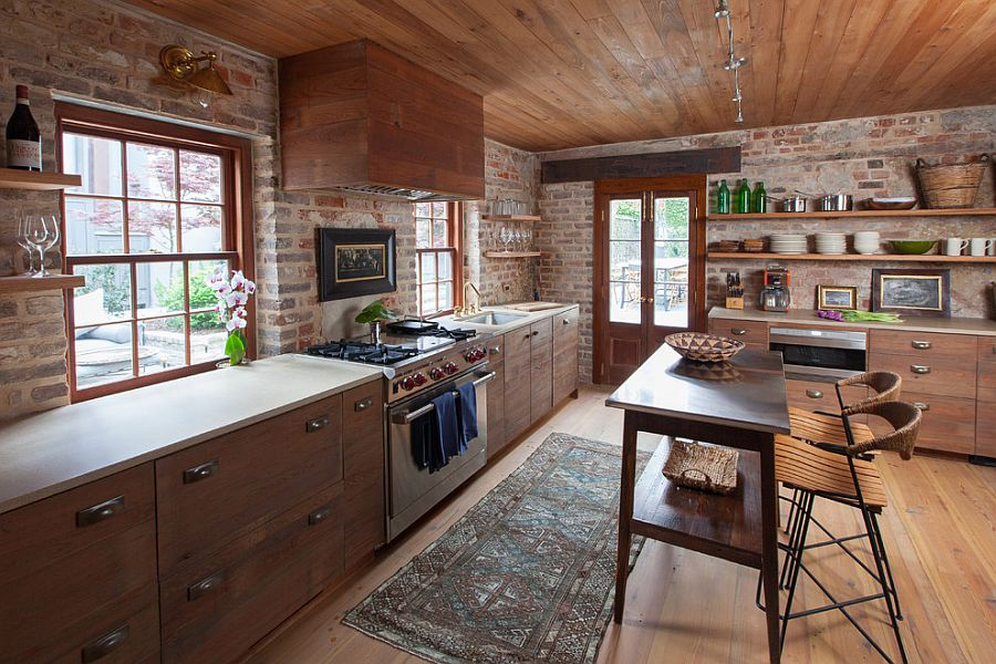 ... Custom Island And Chairs Bring Antique Charm To The Rustic Kitchen [ Design: Cameron Stewart