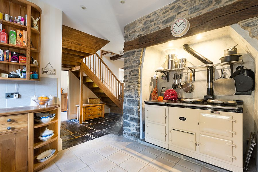 ... Custom Kitchen Design With Exposed Stone Feature And Small Workstation  [From: Colin Cadle Photography