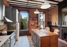 Custom kitchen island conceals ample storage