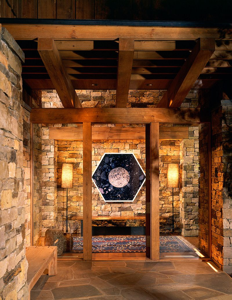 Custom mix of local stones and lovely artwork create a stunning entrance
