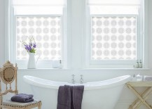 Custom printed window film adds pattern to the chic bathroom