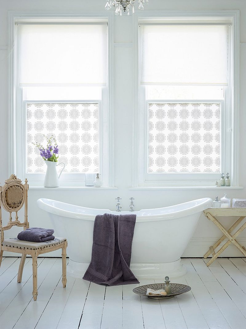 Custom printed window film adds pattern to the chic bathroom [Design: The Window Film Company UK]