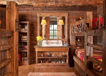 Custom rustic bunkhouse design with a sink and ample shelf space