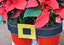 DIY Santa pants planters for poinsettias 217x155 17 Lovely Ways to Display Poinsettias for the Holidays