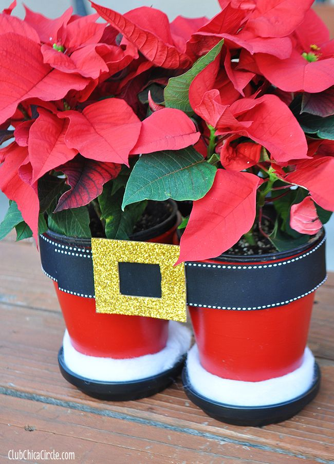 DIY Santa pants planters for poinsettias