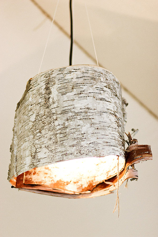 DIY birch bark lamp from Ruffled
