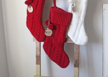 DIY ladder to hang Christmas stockings 217x155 8 Festive Ways to Hang Stockings When You Dont Have a Fireplace