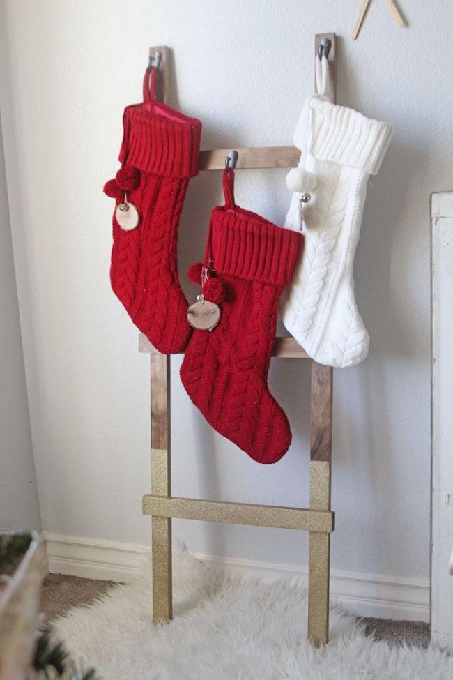 DIY ladder to hang Christmas stockings