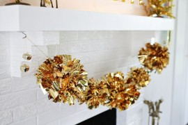 DIY mylar pom-pom garland from A Beautiful Mess