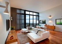 Decorate screening and drapes for the living room allow you to shift between stunning views and privacy 217x155 Amazing Renovation of 80s Duplex Building Caters to Chic, Modern Lifestyle