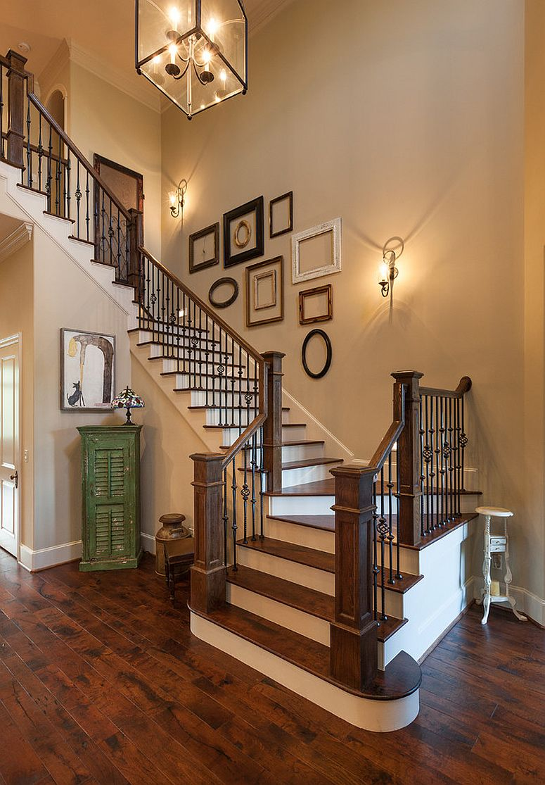 ... Decorate The Staircase Wall With Some Empty Picture Frames [Design:  Frankel Building Group]