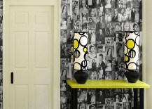 Decoupage black and white photos for monochromatic wallpaper