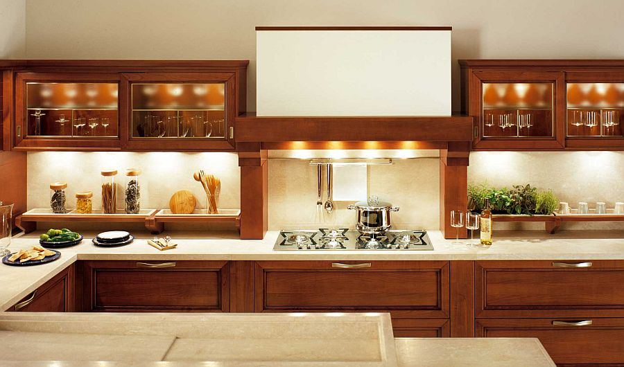 Design of the hood brings timeless warmth to the dashing Italian kitchen
