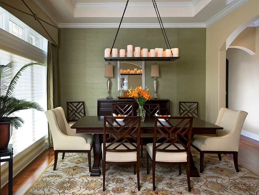 Dining room takes it color scheme and cue from the lovely rug [Design: Montgomery County Interior Designer]