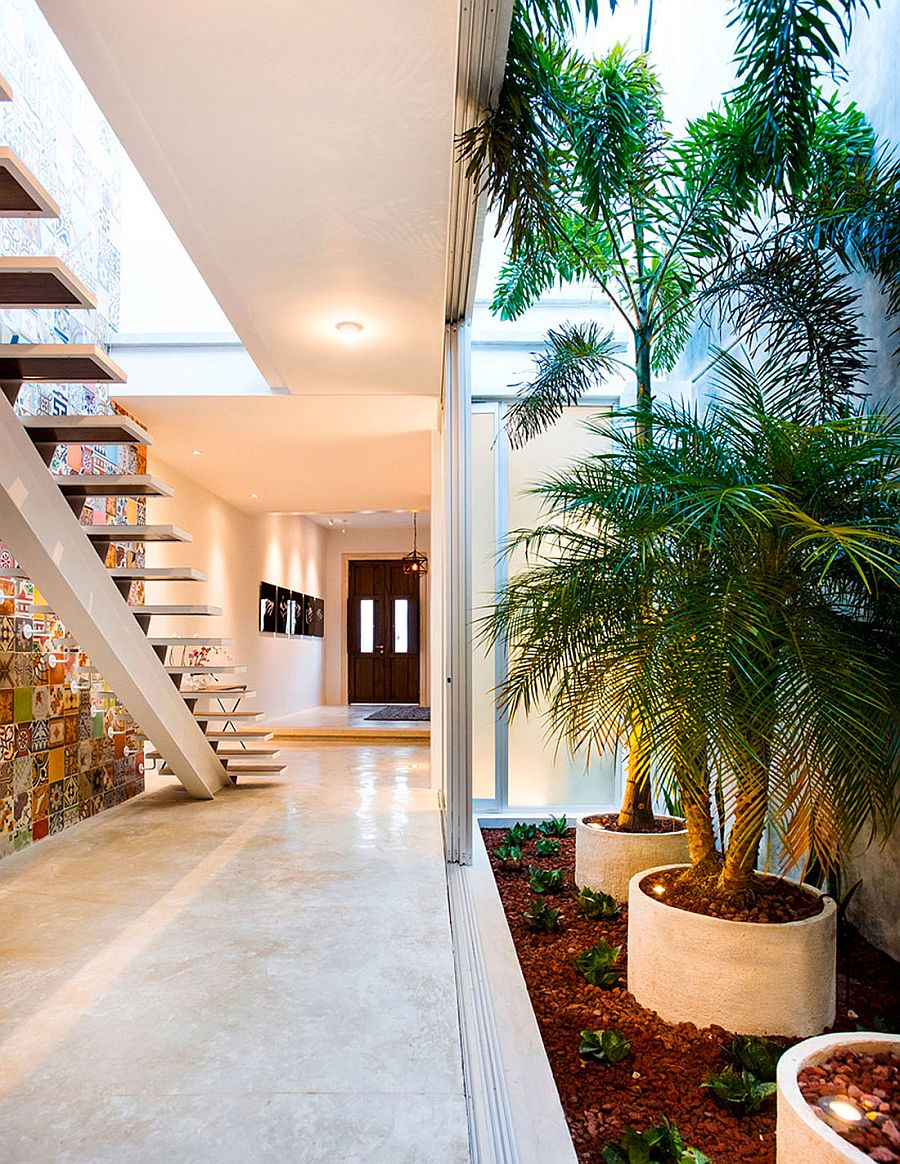 indoor garden and innovative use of tiles vibrant home in mérida