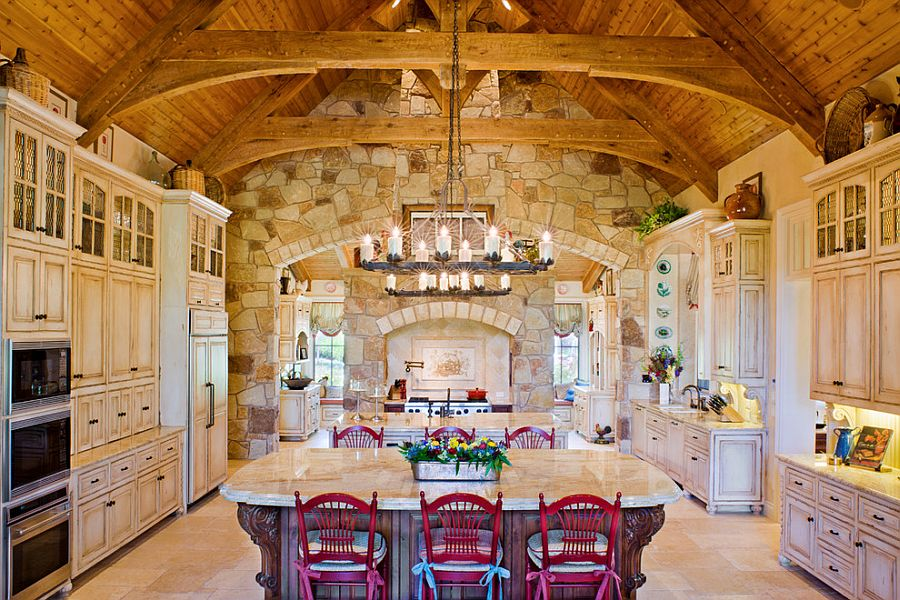 30 inventive kitchens with stone walls - Rustic apartment interior wrapped in contemporary and traditional accent ...