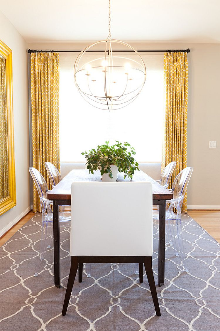 Drapes and rug add yellow and gray to the neutral dining for Dining room drapes