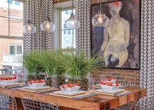 Drapes with chevron pattern for the small, industrial dining space