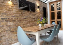 Drop chair steals the show in this contemporary dining space [Design: Landor Design]