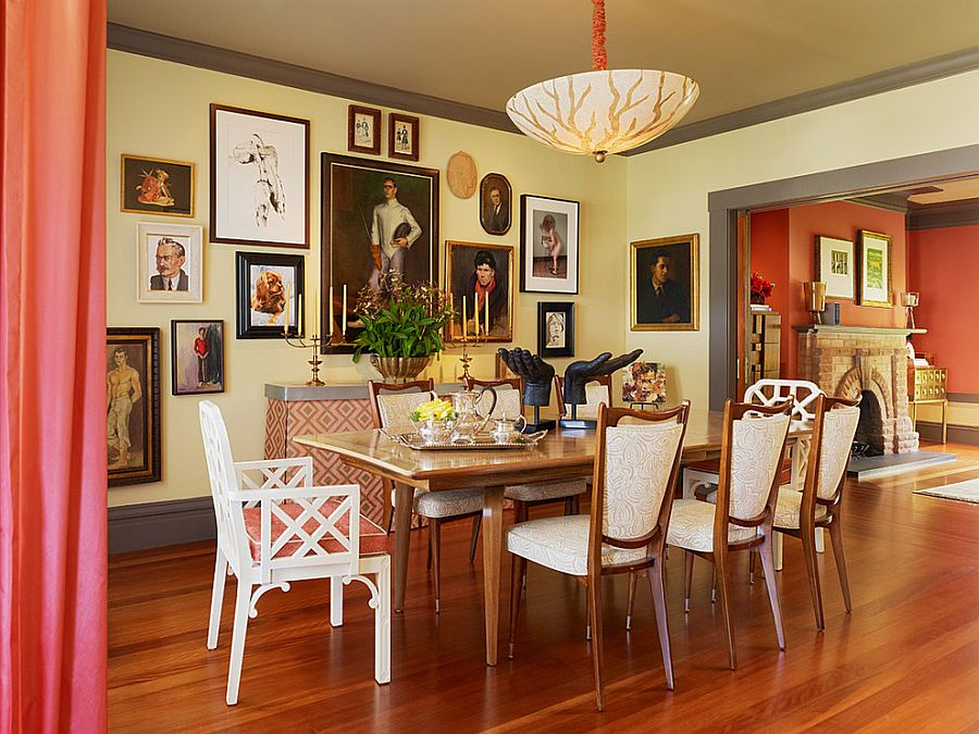 Eclectic dining room with a beautiful gallery wall [Design: Jeffers Design Group]