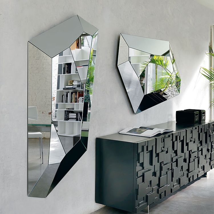 Eclectic geometric shape of the mirror makes it a showstopper