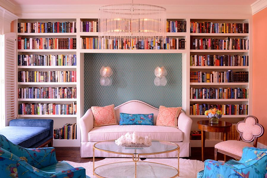 ... Eclectic Living Room With A Wall Of Books [Design: Kim Armstrong]