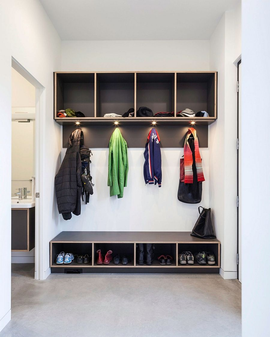 Efficient mud room design in white and gray