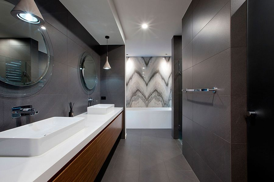 Elegant bathroom that celebrates gray