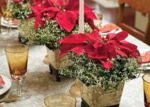 Elegant poinsettia and candlestick centerpieces