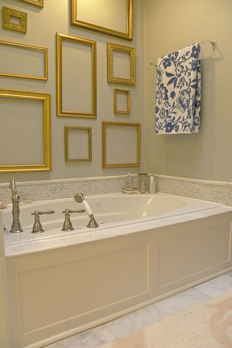 empty frames add golden glint to the shabby chic style bathroom from sarah
