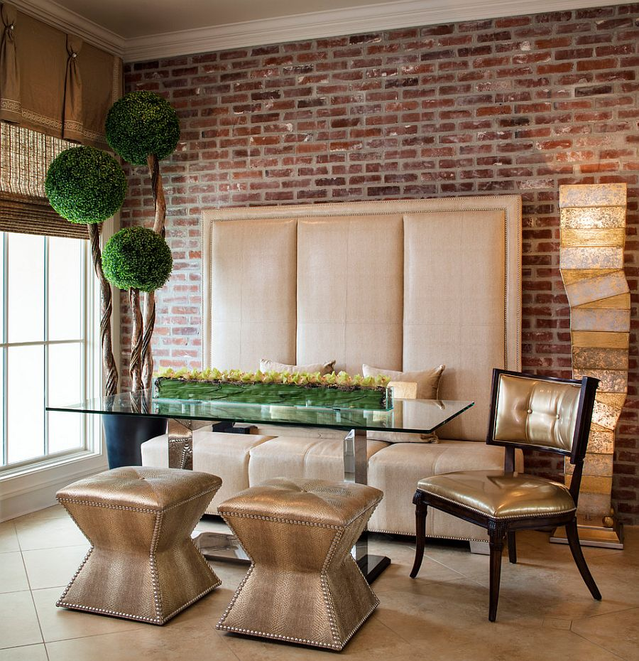 Exquisite contemporary dining room dazzles with custom banquette decor and a pinch of greenery 50 Bold Inventive Dining Rooms Brick Walls