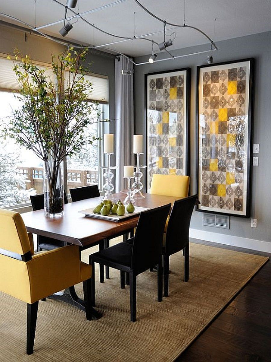Exquisite modern dining room in gray with pops of yellow that bring liveliness