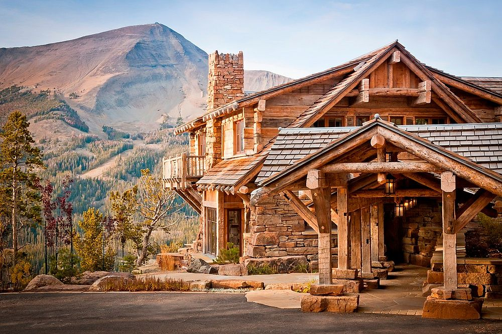 Exterior of the mountain home fits in perfectly with the majestic backdrop